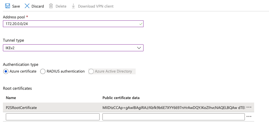 fig. 16, Azure P2S configuration